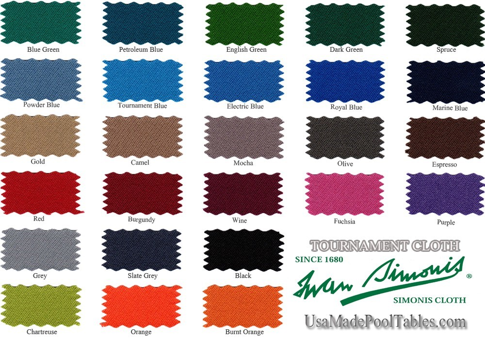 tournament cloth color swatches